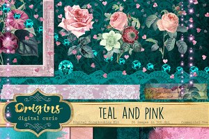 Teal and Pink Digital Scrapbook Kit