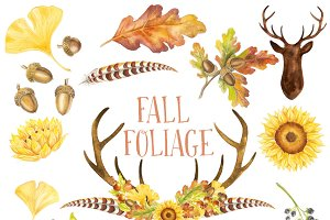 Watercolor Clipart: Fall Foliage