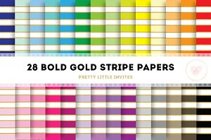Bold Gold Stripe Digital Papers