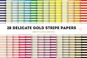 Delicate Gold Stripe Digital Papers