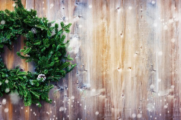 Christmas wreath. Copy space