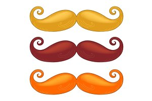Set of mustache of different colors.