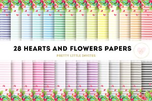 Watercolor Hearts & Flowers Papers
