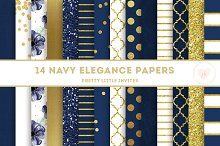 Navy and Gold Digital Paper Pack