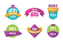 Discount tag banners & sale stickers