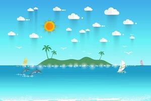 Summer beach  island landscape
