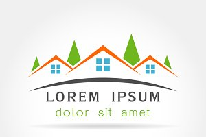 Template logo House as  building