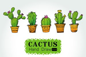 hand drawn Collection of cactuses