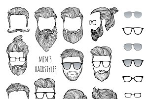hairstyles, beards glasses