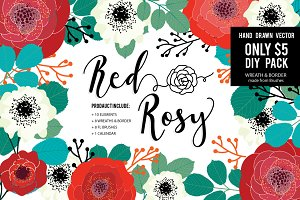 ROSY HAND DRAWN VECTOR DIY PACK