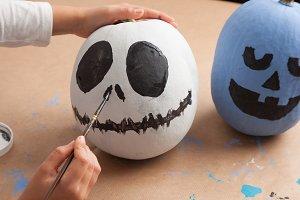 Painting halloween pumpkins
