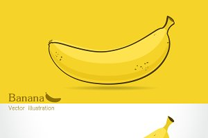 Banana vector icon cartoon style