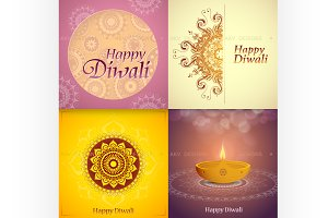 Diwali festival greeting cards set