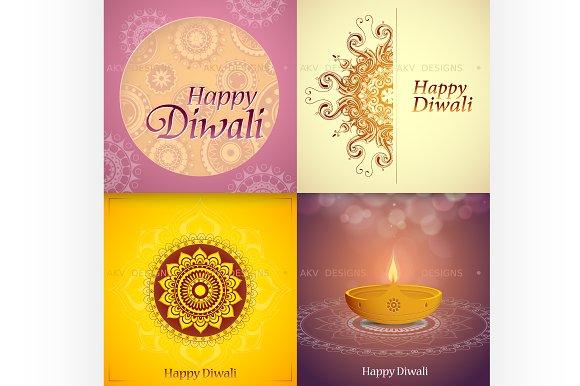 Diwali festival greeting cards set illustrations creative market diwali festival greeting cards set illustrations m4hsunfo