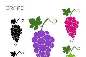 Grapes vector icon cartoon style