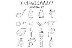 E-cigarettes icons set