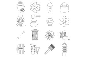 Apiary icons set, outline style