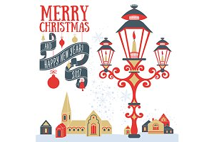 Christmas card with candle lantern