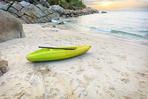 vivid kayak on the sand