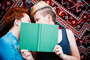 Lesbian couple read together