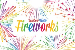 Vector Rainbow colored Fireworks