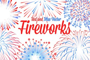 Red and Blue Vector Fireworks