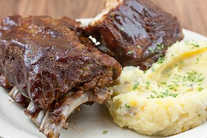Barbecue ribs and potatoes