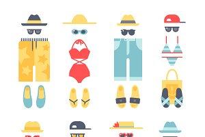 Beachwear different flat vector