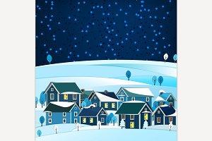 Small Town Winter Landscape