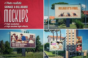 4 Signage & Billboards mockups
