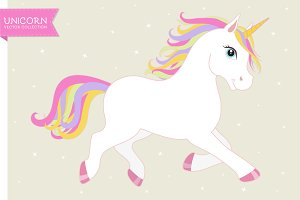 White vector unicorn EPS+AI+PNG