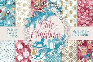 Cute christmas digital papers