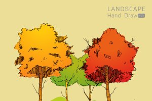 Natural landscape in Hand drawn