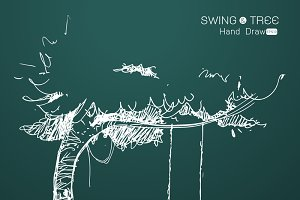 tree with swing hand drawn