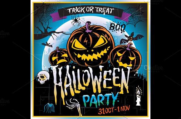 Happy Halloween party Poster. Vector - Graphics