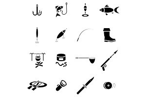 Fishing icon set, simple style