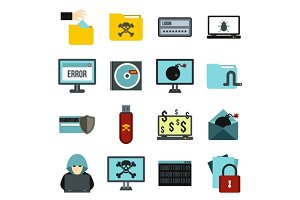 Criminal activity icons set