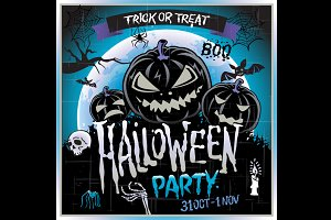 Happy Halloween party Poster. Vector