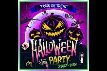 Happy Halloween party Poster. Vector