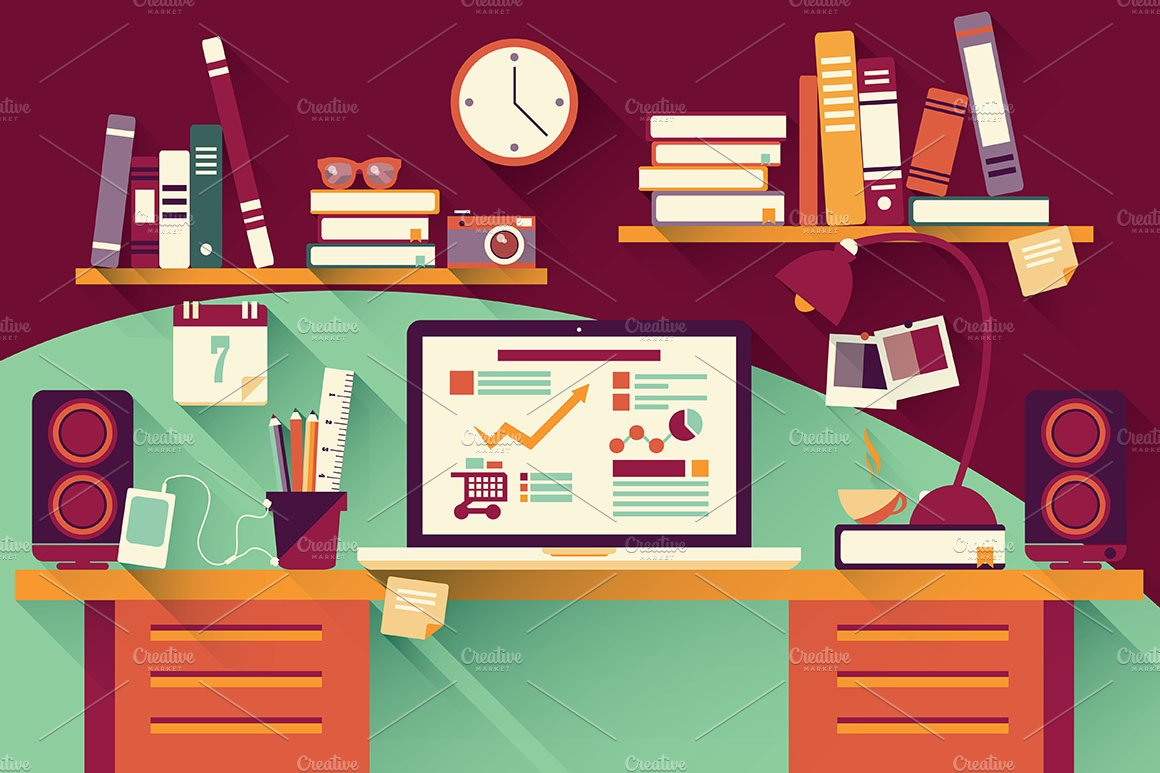 Flat design office desk 03 illustrations creative market for Decorate my flat