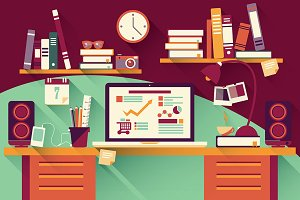 Flat Design Office Desk 03