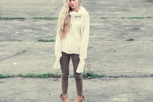 long-haired blond hipster