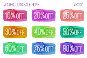 Sale signs on watercolor background