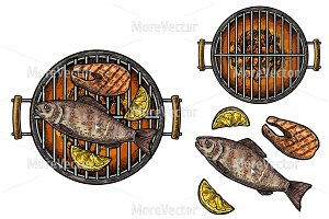 Barbecue grill whole, steak  fish