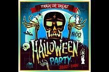Halloween party skull zombie. Vector