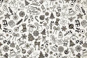 Xmas Doodles Seamless Pattern
