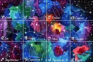 12 Zodiac signs on watercolor
