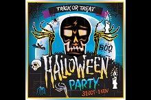 skull zombie Halloween Party vector