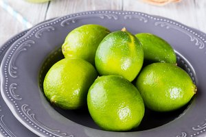 Fresh limes in a plate