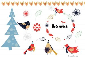 Modern Winter Christmas Clipart